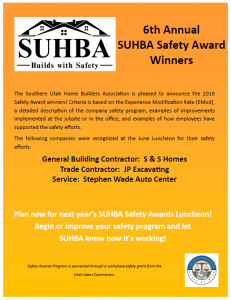 Congratulations to the 2018 SUHBA Safety Award Winners